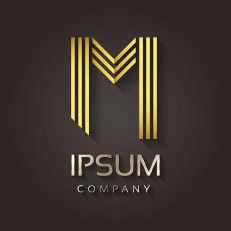 Vector grafische gestreepte gouden alfabet met voorbeeldtekst voor uw brief bedrijf - M