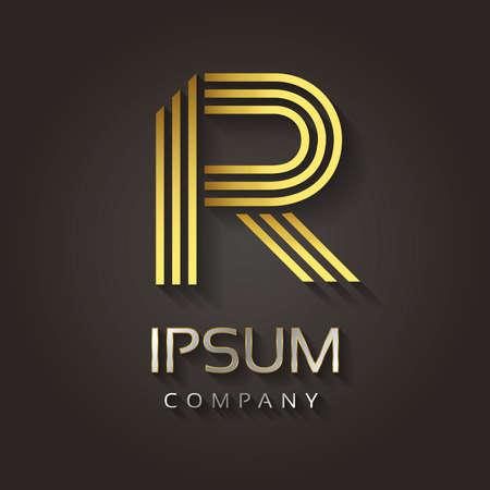 Vector grafische gestreepte gouden alfabet met voorbeeldtekst voor uw brief bedrijf - R Stock Illustratie