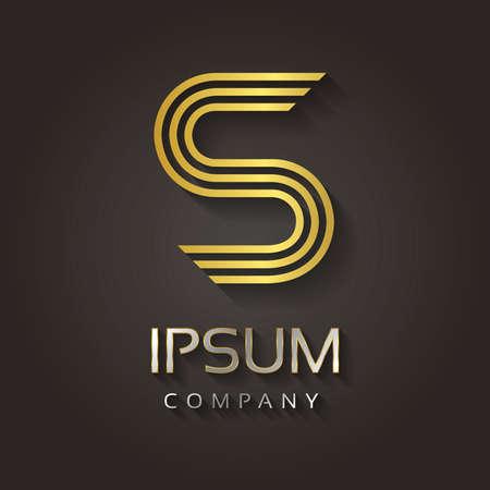 Vector grafische gestreepte gouden alfabet met voorbeeld tekst voor uw bedrijf letter - S