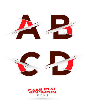 Vector graphic samurai themed cut alphabet in a set Illustration