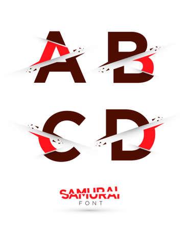cut paper art: Vector graphic samurai themed cut alphabet in a set Illustration