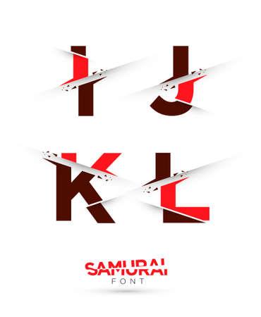 papier a lettre: Graphique de vecteur samouraïs thème coupé alphabet dans un ensemble