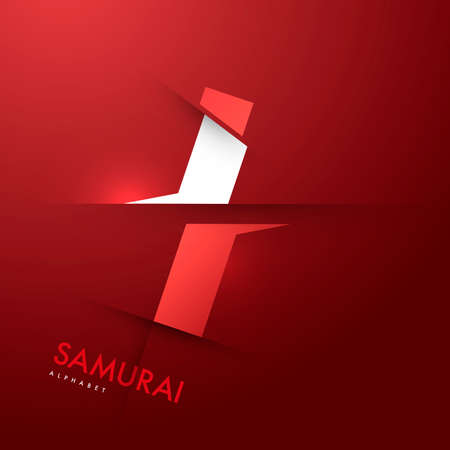alphabetical letters: Vector graphic samurai themed cutted alphabet - Letter I