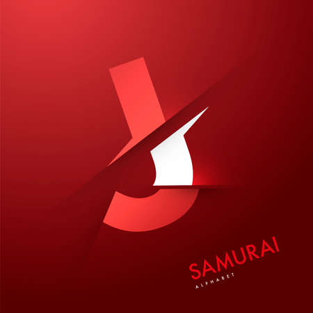 samourai: Graphique de vecteur samoura�s th�me Cutted alphabet - Lettre J