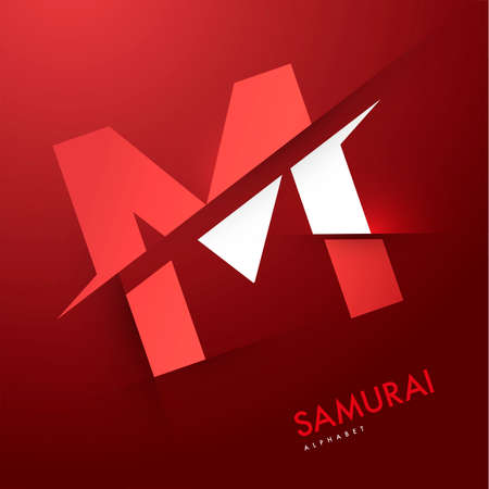 m: Vector graphic samurai themed cutted alphabet - Letter M