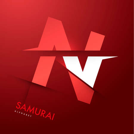 samourai: Vector graphic samoura�s th�me Cutted alphabet - Lettre N