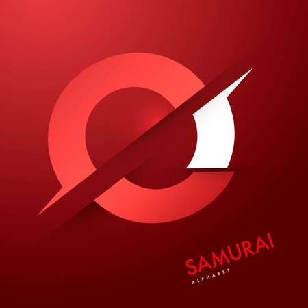 samourai: Graphique de vecteur samoura�s th�me Cutted alphabet - Lettre O