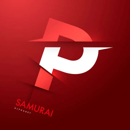 Vector graphic samurai themed cutted alphabet - Letter P Ilustrace