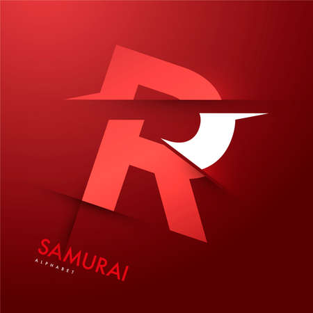 Vector graphic samurai themed cutted alphabet - Letter R