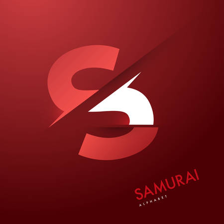 samourai: Graphique de vecteur samoura�s th�me Cutted alphabet - Lettre s