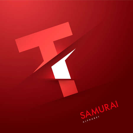white letters: Vector graphic samurai themed cutted alphabet - Letter t