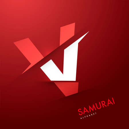 alphabetical letters: Vector graphic samurai themed cutted alphabet - Letter V
