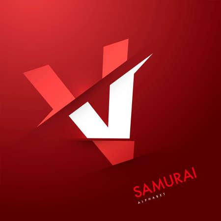 letter v: Vector graphic samurai themed cutted alphabet - Letter V