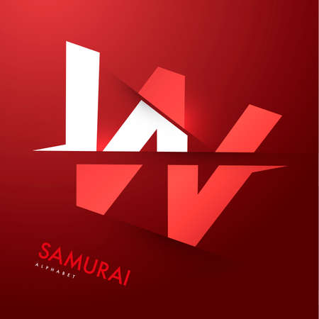 letter w: Vector graphic samurai themed cutted alphabet - Letter W