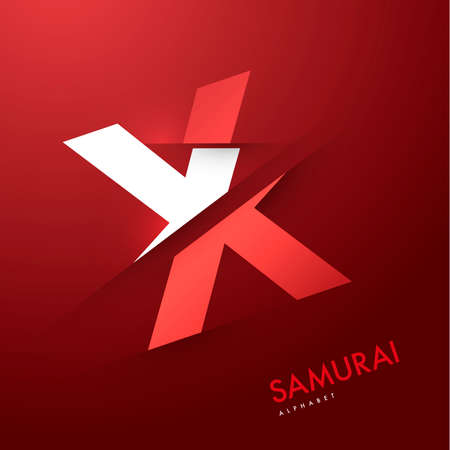 alphabetical letters: Vector graphic samurai themed cutted alphabet - Letter X Illustration