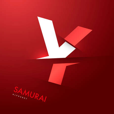 alphabet letters: Vector graphic samurai themed cutted alphabet - Letter Y