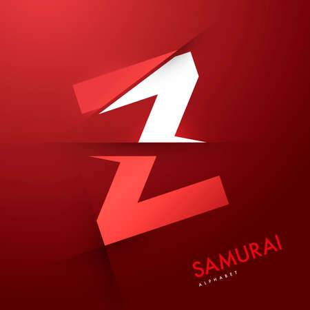 letter a z: Vector graphic samurai themed cutted alphabet - Letter Z
