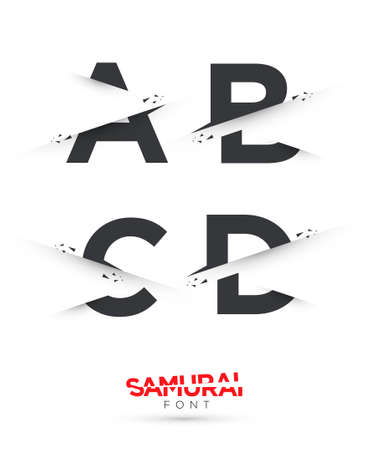 themed: Vector graphic samurai themed cut alphabet in a set Illustration