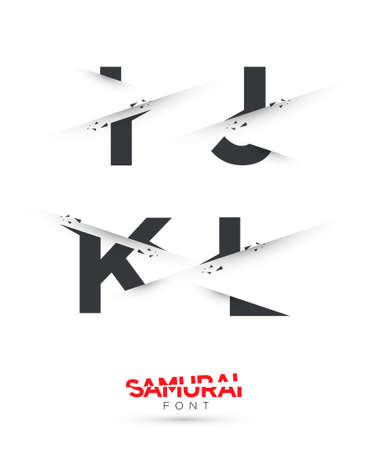 paper spell: Vector graphic samurai themed cut alphabet in a set Illustration