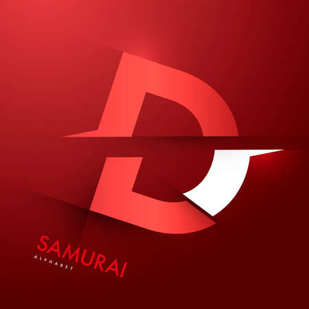 samourai: Graphique de vecteur samoura�s th�me Cutted alphabet - Lettre D