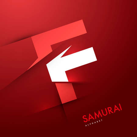 alphabetical letters: Vector graphic samurai themed cutted alphabet - Letter F