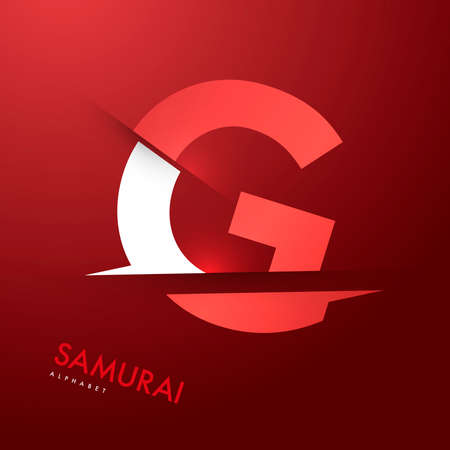 samourai: Graphique de vecteur samoura�s th�me Cutted alphabet - Lettre g