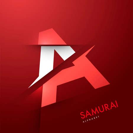 Vector grafische samurai thema gesneden alfabet - brief