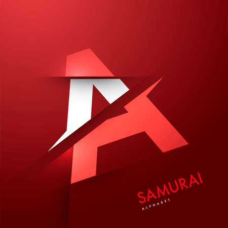 alphabetical: Vector graphic samurai themed cutted alphabet - Letter Illustration