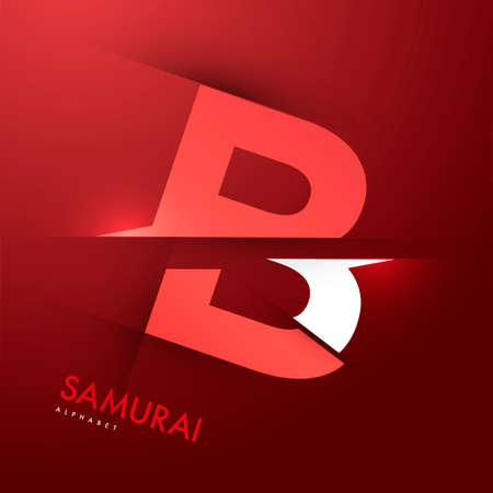 samourai: Graphique de vecteur samoura�s th�me Cutted alphabet - Lettre B