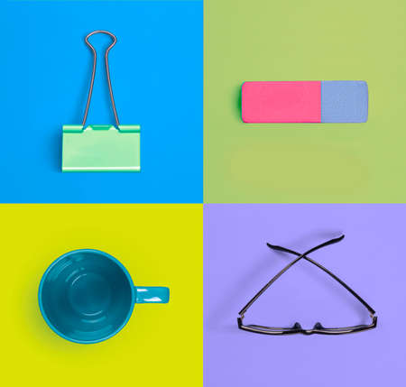 office supplies: Set of colorful office supplies isolated on colored background Stock Photo