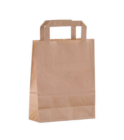 paper bag: Brown paper bag with handles isolated on white background
