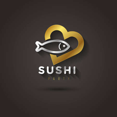 Vector Graphic Golden Fish And Sushi Symbol With Sample Text