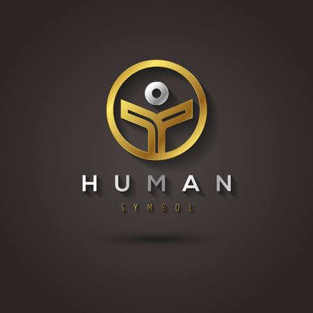fraternidad: Gráfico de vector de oro símbolo geométrico de un ser humano en un círculo con texto de ejemplo