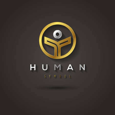 brotherhood: Vector graphic geometric golden symbol of a human in a circle with sample text