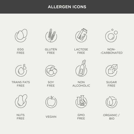 intolerancia: Gr�fico de vector conjunto de la dieta y de la intolerancia alimentaria iconos y etiquetas de estilo minimalista y moderno Vectores