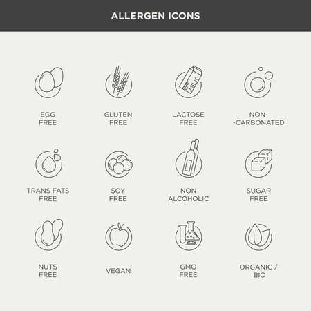 Vector graphic set of diet and food intolerance icons and labels in minimal and modern style Ilustração