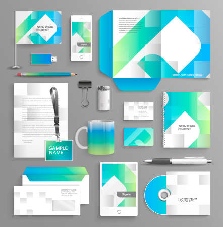 Vector graphic professional identity for your company, in vibrant colors, with useful elements