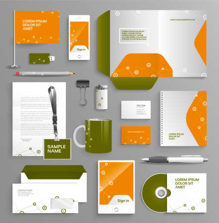vibrant colors: Vector graphic professional identity for your company, in vibrant colors, with useful elements