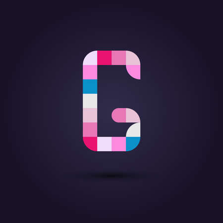 vibrant colors: Vector graphic colorful pixel alphabet in vibrant colors  Letter G