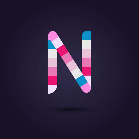 vibrant colors: Vector graphic colorful pixel alphabet in vibrant colors  Letter N Illustration
