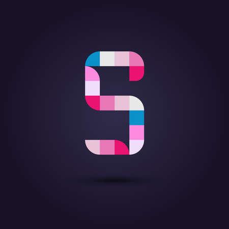 s alphabet: Vector graphic colorful pixel alphabet in vibrant colors  Letter S