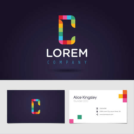 rounded: Vector graphic colorful pixel alphabet symbol  identity  business card in vibrant colors  Letter C