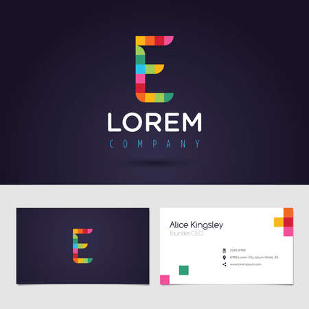 e card: Vector graphic colorful pixel alphabet symbol  identity  business card in vibrant colors  Letter E
