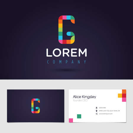 vibrant colors: Vector graphic colorful pixel alphabet symbol  identity  business card in vibrant colors  Letter G