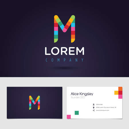 vibrant colors: Vector graphic colorful pixel alphabet symbol  identity  business card in vibrant colors  Letter M