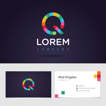 vibrant colors: Vector graphic colorful pixel alphabet symbol  identity  business card in vibrant colors  Letter Q