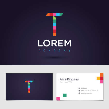 t square: Vector graphic colorful pixel alphabet symbol  identity  business card in vibrant colors  Letter T