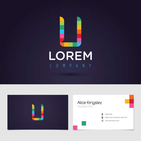 logo design: Vector graphic colorful pixel alphabet symbol  identity  business card in vibrant colors  Letter U Illustration