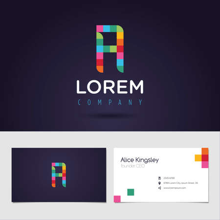 identity card: Vector graphic colorful pixel alphabet symbol  identity  business card in vibrant colors  Letter A Illustration