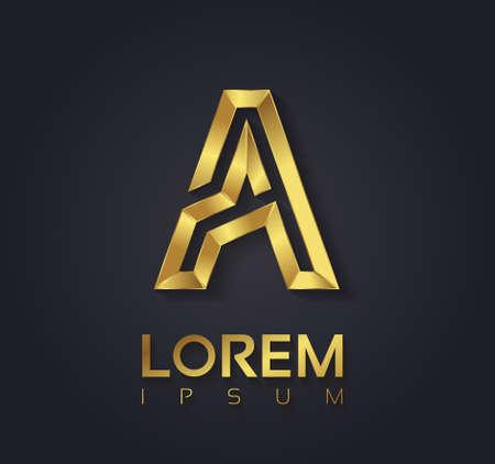 Vector graphic elegant golden font with sample text / symbol / alphabet / Letter A